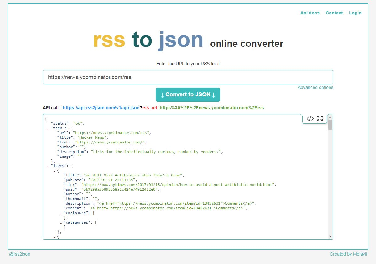 rss2json home page
